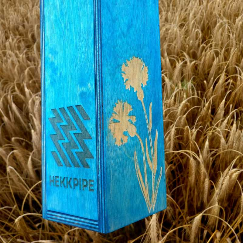 Estonian national flower cornflower custom engraving on wooden hookah